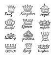 sketch crowns hand drawn king queen crown and vector image