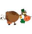 St Patricks Day Cow Wearing A Hat vector image vector image