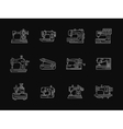 Tailoring machinery white flat line icons vector image vector image