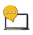technology laptop mail bubble speech sketch vector image