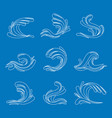 thin line ocean or sea blue waves icons set vector image vector image
