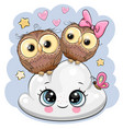 two cartoon owls on a cloud vector image