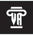 va logo monogram with pillar style design template vector image vector image
