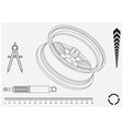 wheel and shock absorber on a white vector image vector image
