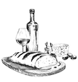 wine bread and blue cheese vector image