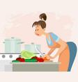 woman preparing dinner vector image