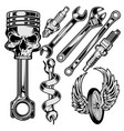 wrench piston spark plug skull car motor repair vector image