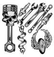 wrench piston spark plug skull car motor repair vector image