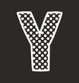 Y alphabet letter with white polka dots on black vector image vector image