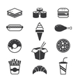 Black fast food icons vector image