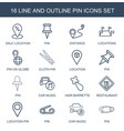 16 pin icons vector image vector image