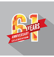 61st Years Anniversary Celebration Design vector image