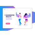 augmented reality banner people with headset and vector image vector image