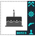 birthday cake icon flat vector image vector image