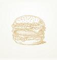 burger sketch hand drawn vector image vector image