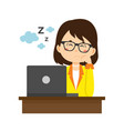 business women character sleeping on working time vector image vector image