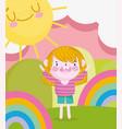 children day cartoon boy in magic scene vector image vector image