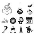 christmas attributes and accessories black icons vector image