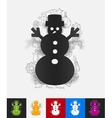 christmas snowman paper sticker with hand drawn vector image vector image