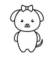 cute and tender female dog kawaii style vector image vector image