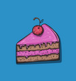 cute cartoon cake slice vector image vector image
