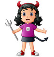cute devil girl cartoon vector image vector image