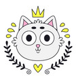cute kitty head colorful cat logo art for t vector image vector image