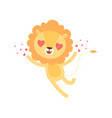 cute lion with heart shaped eyes funny african vector image