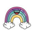 cute rainbow kawaii character vector image