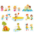 flat set of little kids doing different vector image