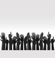 hands up colors voting hand raised up election vector image vector image
