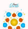 happy diwali card hindu diya flower candle vector image vector image