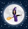 happy halloween on a moonlight background witch vector image