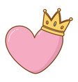 heart and crown vector image
