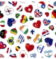 heart shaped glossy flags world sovereign vector image vector image
