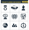 Icons set premium quality of project planning and vector image vector image
