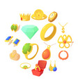 jewelry items icons set cartoon style vector image vector image