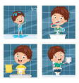 kid bathing brushing teeth vector image vector image