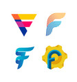 letters f logo set different style and colors f vector image vector image
