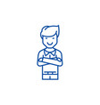 Man with crossed arms line icon concept man with