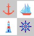 marine collection of icons in flat style vector image