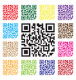 modern simple multicolor qr code sign in isolated vector image