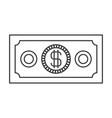 monochrome silhouette of money bill vector image vector image