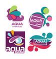 natural cosmetics aqua makeup and cosmetic tools vector image