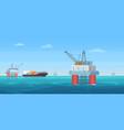 oil drill platform cartoon vector image vector image