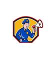 Policeman Shouting Bullhorn Shield Cartoon vector image vector image