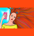 redhead woman taking selfie vector image vector image
