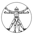 robot vitruvian man sketch engraving vector image
