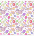 seamless background with various tropical fruits vector image vector image