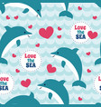 seamless pattern with flock of dolphins for cards vector image